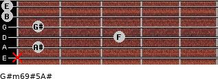 G#m6/9#5/A# for guitar on frets x, 1, 3, 1, 0, 0