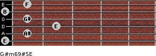 G#m6/9#5/E for guitar on frets 0, 1, 2, 1, 0, 1