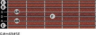G#m6/9#5/E for guitar on frets 0, 1, 3, 1, 0, 0