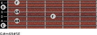 G#m6/9#5/E for guitar on frets 0, 1, 3, 1, 0, 1
