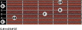G#m6/9#5/E for guitar on frets 0, 1, 3, 4, 0, 4