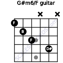G#m6/F for guitar on frets 1, 2, 3, x, 4, x
