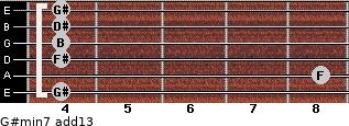 G#min7(add13) for guitar on frets 4, 8, 4, 4, 4, 4