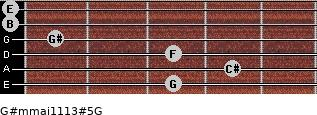 G#m(maj11/13)#5/G for guitar on frets 3, 4, 3, 1, 0, 0