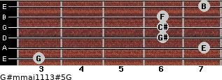 G#m(maj11/13)#5/G for guitar on frets 3, 7, 6, 6, 6, 7