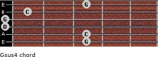 Gsus4 for guitar on frets 3, 3, 0, 0, 1, 3