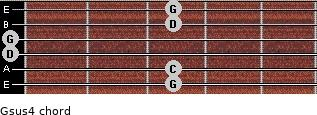Gsus4 for guitar on frets 3, 3, 0, 0, 3, 3