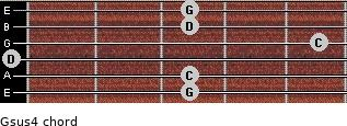 Gsus4 for guitar on frets 3, 3, 0, 5, 3, 3