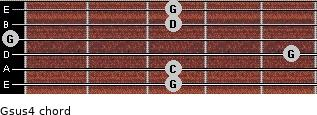 Gsus4 for guitar on frets 3, 3, 5, 0, 3, 3