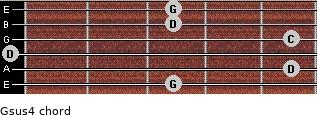 Gsus4 for guitar on frets 3, 5, 0, 5, 3, 3