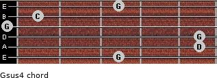 Gsus4 for guitar on frets 3, 5, 5, 0, 1, 3