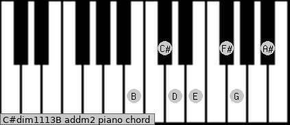 C#dim11/13/B add(m2) piano chord