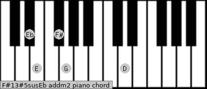 F#13#5sus/Eb add(m2) piano chord