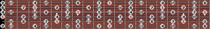 diminished (wholetone - halftone) scale on key D for Guitar
