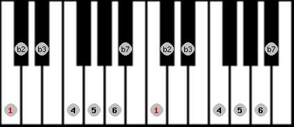 dorian b2 scale on key C for Piano