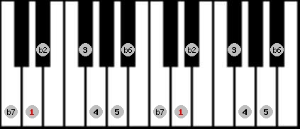 major phrygian scale on key D for Piano