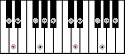 persian scale on key D for Piano